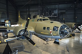 National Museum of the United States Air Force - Boeing B-17F Memphis Belle on display in the WWII Gallery at the National Museum of the United States Air Force. (U.S. Air Force photo by Ken LaRock) (Public Domain)