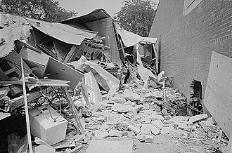 Birmingham campaign - Wreckage at the Gaston Motel following the bomb explosion on May 11, 1963