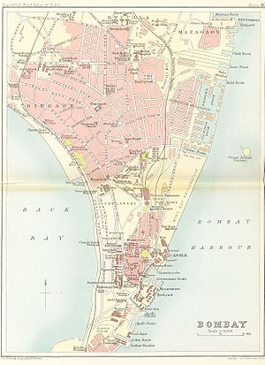 Wellington Pier (Bombay) - Apollo Bunder at the bottom of the map