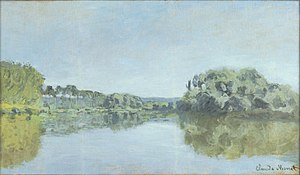 Painting of a river with tree-lined banks.