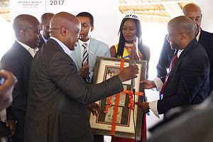 BotswanaPost - Unveiling of the new stamp by Botswana post CEO Ramatlhakwane.