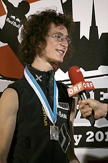 Boulder Worldcup Vienna 29-05-2010b winners3 Adam Ondra 2nd place.jpg