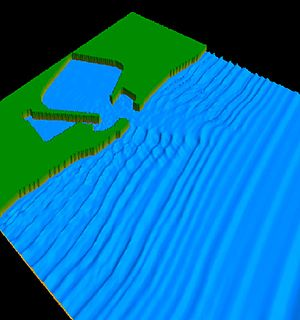 Boussinesq approximation (water waves) - A simulation with a Boussinesq-type wave model of nearshore waves travelling towards a harbour entrance. The simulation is with the BOUSS-2D module of SMS.