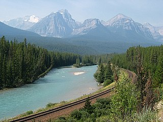 Bow River river in Alberta, Canada