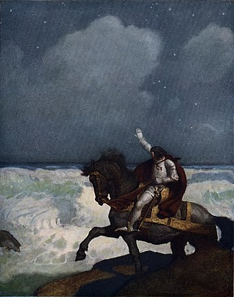 Percival in Newell Convers Wyeth's illustration for Sidney Lanier's The Boy's King Arthur (1922)