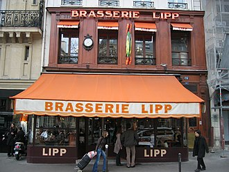 Brasserie - The front of Brasserie Lipp in Paris