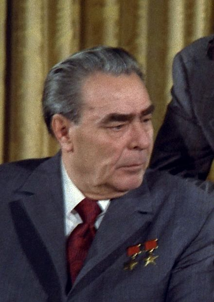 The Brezhnev era is commonly referred to by historians as the Era of Stagnation, a term coined by CPSU General Secretary Gorbachev Brezhnev 1973.jpg