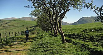Lowther Hills - Heading north on the ancient bridle path to the Enterkin Pass with Lowther Hill on left edge, Pettylung (Durisdeer Hills) on right and the Dalveen Pass between them. Southern Uplands of Scotland.