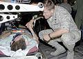 Brig. Gen. Frank Gorenc thanks an injured service member for his service.jpg