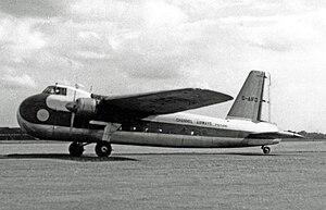 Channel Airways - Channel Airways Bristol 170 Freighter 21 at Manchester Airport in July 1958