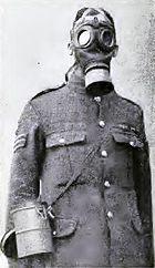 British soldier in a German respirator