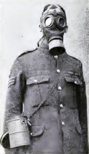 Phosgene attack 19 December 1915 - Image: British soldier in a German respirator