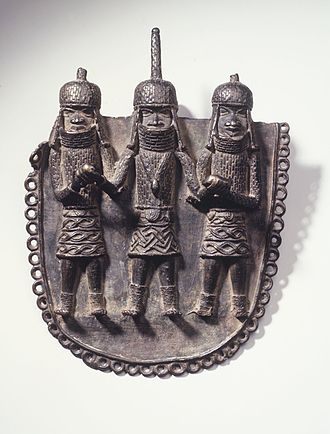 Benin court and ceremonial art - Waist Pendant with Oba and Two Attendants, from the collection of the Brooklyn Museum