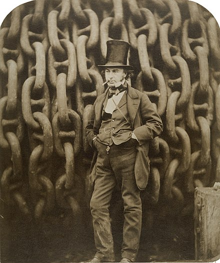 19th-century engineer Isambard Kingdom Brunel by the launching chains of the SS Great Eastern Brunel.jpg