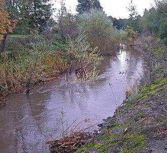 Brush Creek (Sonoma County, California) - Brush Creek looking south toward the Highway 12 bridge.