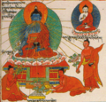 Buddha detail, Illustration (Conception to Birth) from Ornament to the Mind of Medicine Buddha- Blue Beryl Lamp Illuminating Four Tantras written about 1720 by Desi Sangye Gyatso, the regent (Desi) of the 5th Dalai Lama (cropped).png