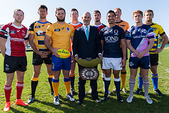 National Rugby Championship - NRC Competition Launch in 2014 with Buildcorp MD Tony Sukkar and players from all teams.