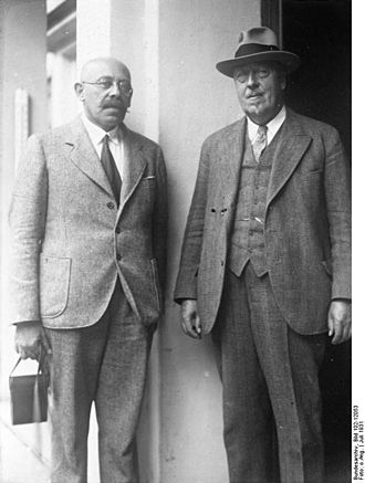 Hugo Eckener - Russian polar researcher Rudolf Lazarevich Samoylovich (left) prior to leading the Graf Zeppelin's scientific polar flight, with Eckener in Friedrichshafen, July 1931