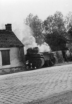 AMC 35 - One of the Belgian vehicles burning in May 1940