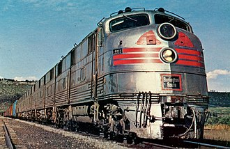 Chicago, Burlington and Quincy Railroad - Burlington locomotive hauling an express freight circa 1967.  These locomotives were also used for the Zephyr passenger trains.