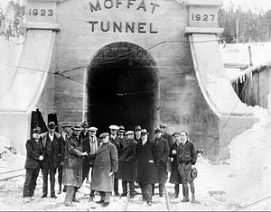 Exposition Flyer - Burlington officials at the Moffat Tunnel in 1934 as plans were being made to create the Exposition Flyer. This was the first transcontinental train to use the Moffat Tunnel.
