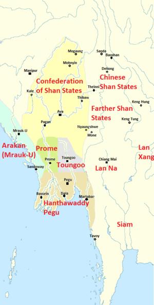 Tabinshwehti - Political Map of Burma (Myanmar) at Tabinshwehti's accession