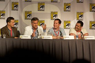Burn Notice's director Tim Matheson, actor Bruce Campbell, creator Matt Nix, and screenwriter Alfredo Barrios Jr. at the San Diego 2010 Comic-Con International. Burn Notice Panel 2 2010 CC.jpg