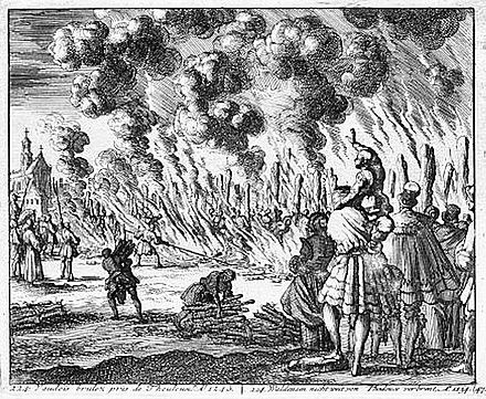 Burning of the Waldensians. Toulouse in the 13th century. Burning of the Waldensians.jpg