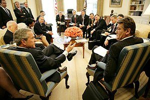 Belarus–United States relations - U.S. President George W. Bush discussing Belarus with Ukrainian President Yushchenko