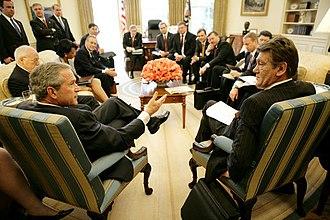 Belarus–United States relations - U.S. President George W. Bush discussing Belarus with Ukrainian President Yushchenko