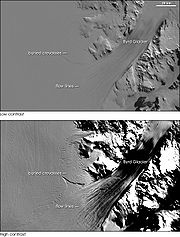Low and high contrast images of the Byrd Glacier. The low-contrast version is similar to the level of detail the naked eye would see — smooth and almost featureless. The bottom image uses enhanced contrast to highlight flow lines on the ice sheet and bottom crevasses.