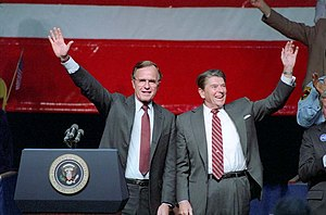 Allstate Arena - George H. W. Bush and Ronald Reagan holding a 1984 campaign rally in the arena