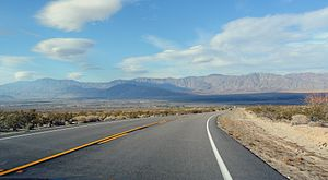 California State Route 78 - SR 78 in the Anza-Borrego Desert State Park, looking east