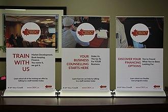 Community business development corporation - Pop-up banners highlighting CBDC services