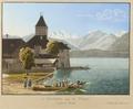 CH-NB - Oberhofen, Schloss und Thunersee, von Nordwesten - Collection Gugelmann - GS-GUGE-BIRMANN-UND-FILS-C-1.tif