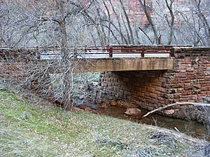 National Register of Historic Places listings in Zion National Park - Image: Cable Creek Bridge NPS