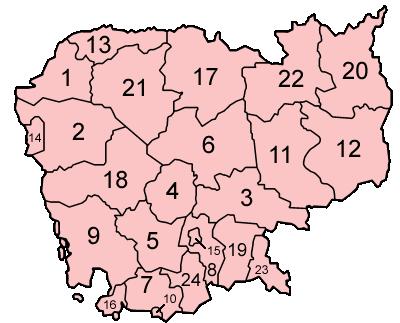 Cambodia provinces numbered