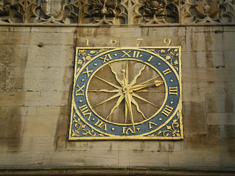Church of St Mary the Great, Cambridge - The Cambridge University Clock, set above the West door of Great St Mary's