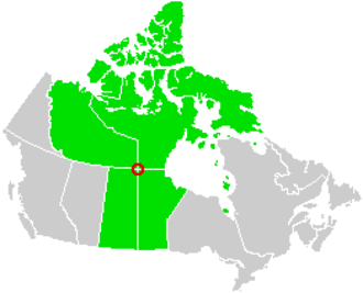 Four corners (Canada) - A map highlighting the corners of the four Canadian provinces and territories which theoretically meet.