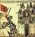 Cantiga 28 Panel 1 - The 8th Century Siege of Costantinople.JPG
