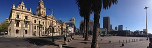 Cape Town City Hall - A panoramic view of Cape Town's city hall including Grand Parade.