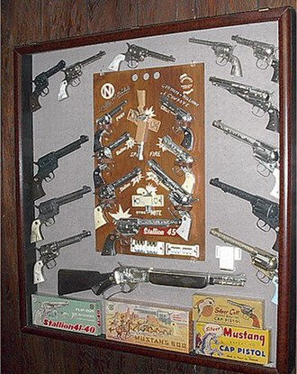 Cap gun - A display of Nichols Industries cap guns. Some collectors collect all brands.