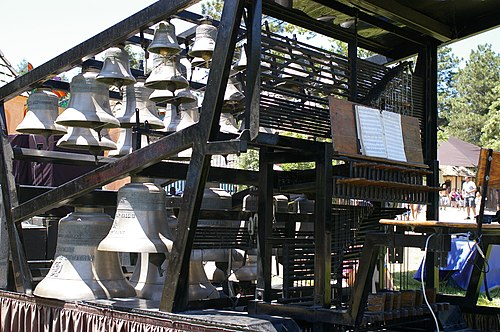 A traveling carillon at the Colorado Renaissance Festival in June 2008 Carillon small portable.jpg