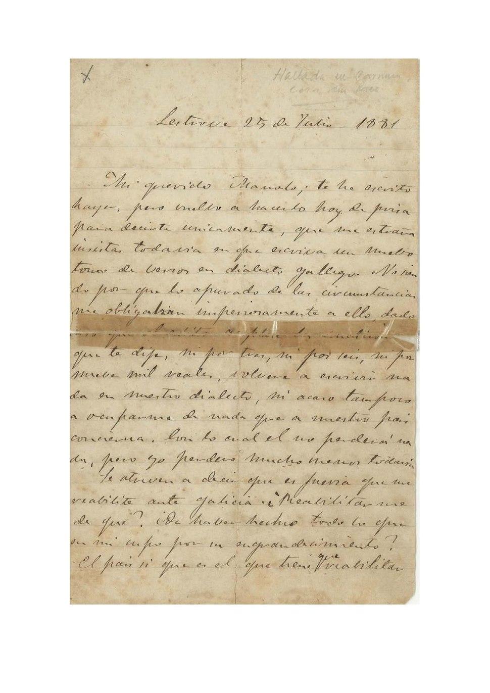 Carta de Rosalía. Lestrove, 25 de julio de 1881. Mi querido Manolo te he escrito ayer, pero vuelvo a hacerlo hoy.pdf
