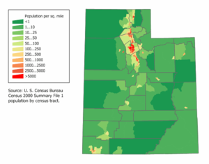 Demographics of Utah - Utah Population Density Map