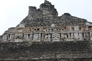 Xunantunich - Carvings on the peak of the El Castillo pyramid (Structure A6) at Xunantunich, Belize.