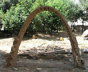 Catenary arch - A mudbrick catenary arch