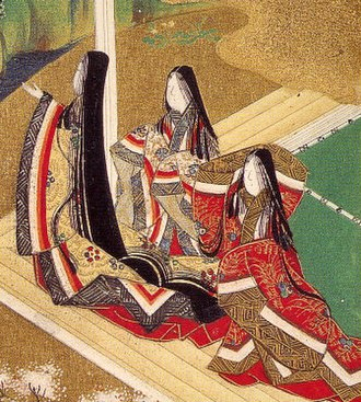 Jūnihitoe - Court-ladies wearing the jūnihitoe, image from the Genji monogatari