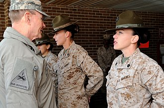 Martin Dempsey - Dempsey talks with U.S. Marine Corps drill instructors in March 2013.