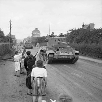 11th Armoured Division (United Kingdom) - Challenger tanks of 2nd Northamptonshire Yeomanry, 11th Armoured Division, passing through Flers on 17 August 1944
